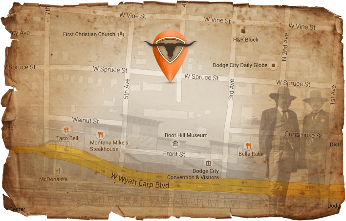 Map displaying Boot Hill Distillery location
