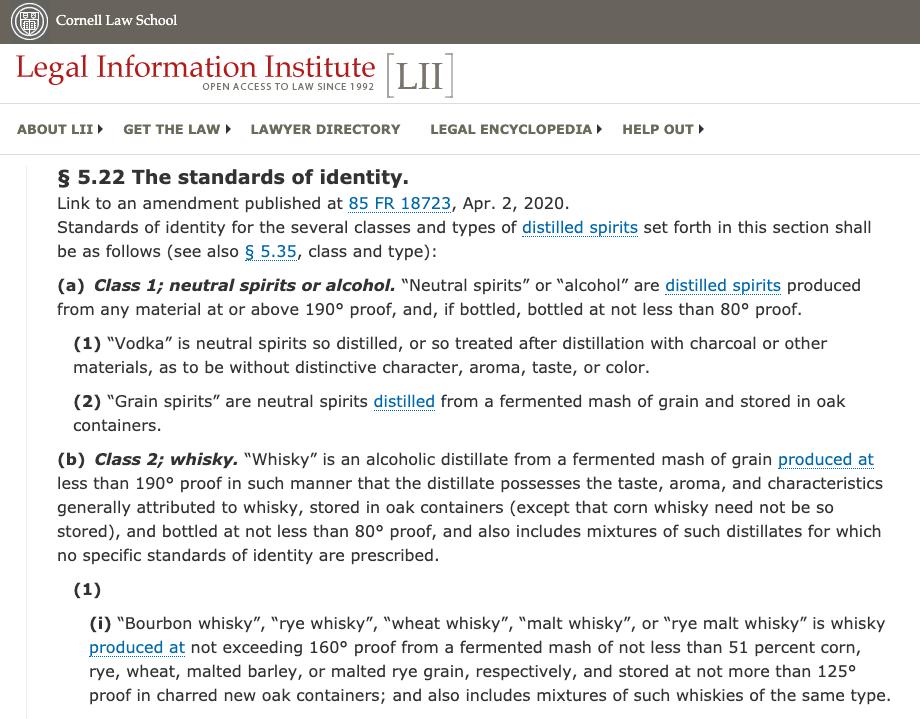 TTB Standards of Identity for Distilled Spirits (Whiskey)